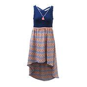 Lilt Sleeveless Aztec High-Low Sundress and Tassel Necklace - Girls 7-16