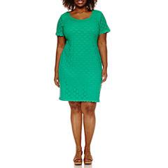 Ronni Nicole Short Sleeve Lace Circles Sheath Dress-Plus
