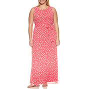 R & K Originals Sleeveless Tie Waist Dot Maxi Dress-Plus
