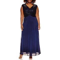 Melrose Sleeveless Beaded Lace Evening Gown-Plus
