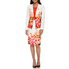 Chelsea Rose Long Sleeve Floral-Print Jacket with Sleeveless Blouse and Floral Print Skirt