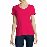 St. John's Bay Short Sleeve V Neck T-Shirt-Talls