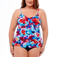 Jamaica Bay® Pretty Pleats Diagonal Ruffle Tankini Swim Top