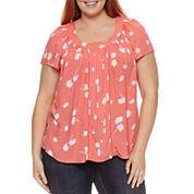 St. John's Bay® Short Sleeve Pleat Front Woven Blouse - Plus