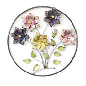 Circle Frame with Flowers Wall Decor