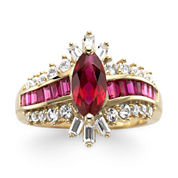 14K Gold Over Silver Lab-Created Ruby & White Sapphire Ring