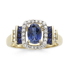 1/7 CT. T.W. Diamond & Blue Sapphire 10K Gold Ring