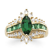 14K Gold Over Sterling Silver Lab-Created Emerald and White Sapphire Ring