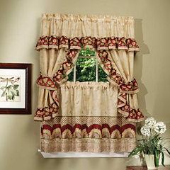 Sunflower Cottage Rod-Pocket Window Tiers & Ruffled Topper Set