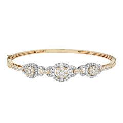 Diamond Blossom Womens 2 CT. T.W. White Diamond 14K Gold Bangle Bracelet