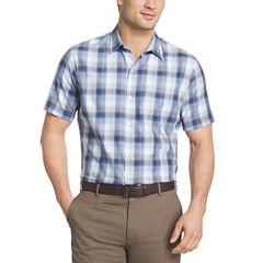 Van Heusen Short Sleeve Textured Weave Camp Button-Front Shirt