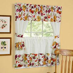 Chesapeake Embellished Cottage Rod-Pocket Window Tiers & Tailored Topper Set