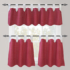 Park B. Smith Picnic Check Tab-Top Kitchen Curtains