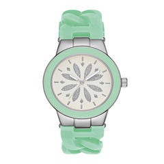 Womens Mint Chain Silicone Strap Watch