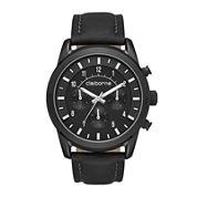 Claiborne® Mens Black Leather Strap Watch