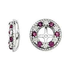 Genuine Rhodolite Garnet Sterling Silver Earring Jackets
