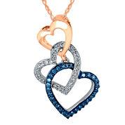 1/5 CT. T.W. White and Color-Enhanced Blue Diamond Triple Heart Pendant Necklace
