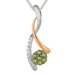 1/4 CT. T.W. White and Color-Enhanced Green Diamond Pendant Necklace