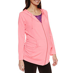 Planet Motherhood Long Sleeve Knit Hoodie-Plus Maternity