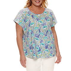 Alfred Dunner Short Sleeve Crew Neck T-Shirt-Womens Plus