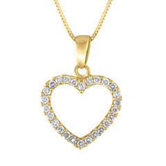 Womens 1/4 CT. T.W. White Diamond 14K Gold Pendant Necklace