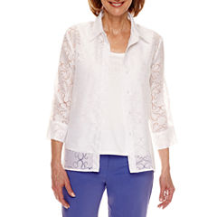 Alfred Dunner Reel It In 3/4 Sleeve Layered Top Petites