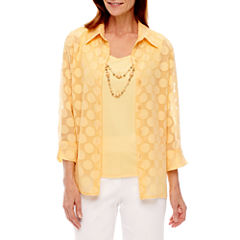 Alfred Dunner Seas The Day 3/4 Sleeve Layered Top