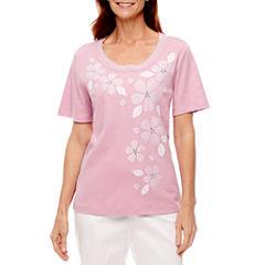 Alfred Dunner Garden Party Short Sleeve Floral T-Shirt