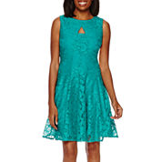 Danny & Nicole® Sleeveless Floral Lace Fit-and-Flare Dress