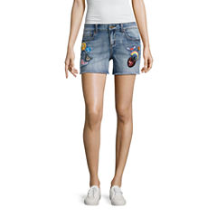 Indigo Rein Patched Denim Shorts-Juniors