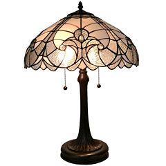 Amora Lighting AM204TL16 Tiffany Style White TableLamp 23 inches