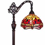 Amora Lighting AM079FL10 Tiffany Style Dragonfly Reading Floor Lamp 62 In