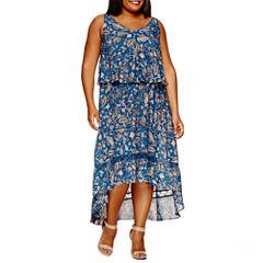Boutique + Sleeveless Hi Low Woven Maxi Dress-Plus