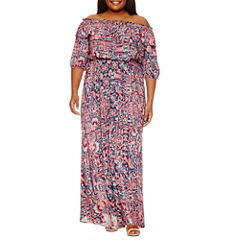 Boutique + 3/4 Sleeve Maxi Dress-Plus