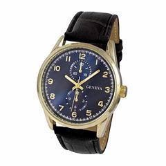 Geneva Mens Black Strap Watch-Jry1794gdnv