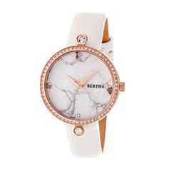 Bertha Frances Womens White Strap Watch-Bthbr6404