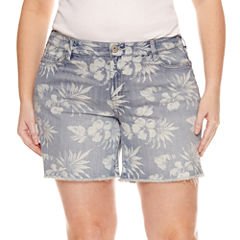 Arizona Floral Denim Midi Shorts - Juniors Plus