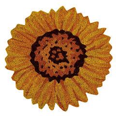 Better Trends Sunflower Coir Printed Round Doormat