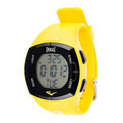 Everlast Mens Heart Rate Monitor Yellow Silicone Strap Sport Watch