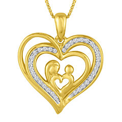 ForeverMine® 1/10 CT. T.W. Diamond 14K Yellow Gold Over Silver Heart Pendant