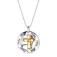 Inspired Moments™ 10K Gold Over Silver Two-Tone Cross Pendant Necklace