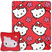 Hello Kitty Flowers Plush Pillow and Throw Set