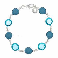 Gloria Vanderbilt Womens 7 3/4 Inch Blue Link Bracelet