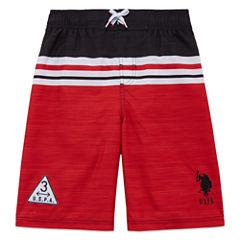 U.S. Polo Assn. Boys Color Block Swim Trunks-Big Kid