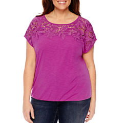 St. John's Bay Short Sleeve Round Neck Blouse-Plus
