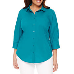 Worthington® 3/4 Sleeve Button Front Shirt - Plus