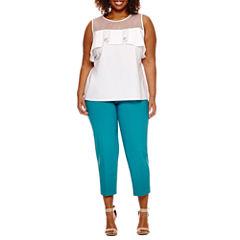 Worthington® Sleeveless Sheer Yoke Fashion Shirting or Slim Fit Ankle Pants - Plus