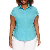 Worthington® Short Sleeve Button Front Shirt - Plus