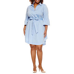 Worthington® Bell Sleeve Shirt Dress - Plus