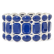 Liz Claiborne® Blue Silver-Tone Stretch Bracelet